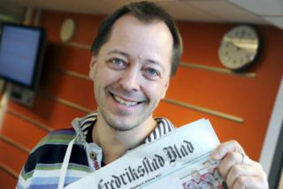 HUMØRLØST: Fredriksstad Blad-redaktør René Svendsen mener at Finn-Erik Vinje er humørløs. Foto: Geir A. Carlsen