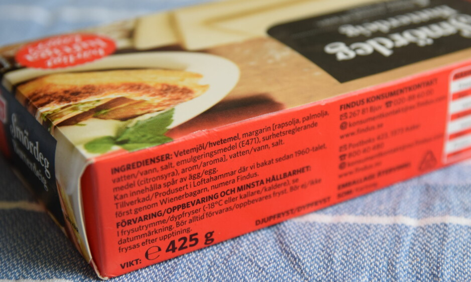 BUTTERDEIG, SA DU? Smördegen fra Findus inneholder rapsolje og planteolje - men ikke ett eneste gram smør. Foto: Elisabeth Dalseg