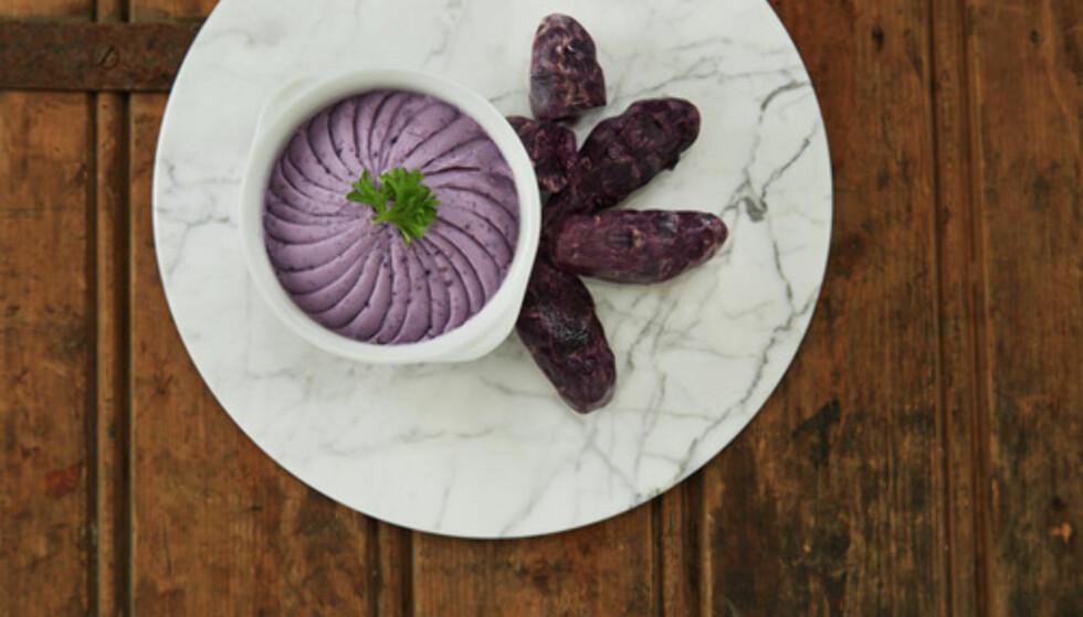 BLÅTT TIL LYST: Får du tak i potetsorten Blå kongo, er det bare å slå til. Kok den med skallet på. Da beholder den fargen. Foto: FRUKT.NO