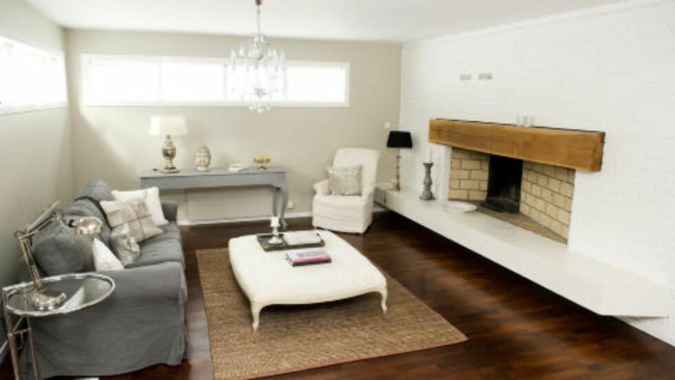 LYST OG ÅPENT: Den lille stua er blitt lysere og mer moderne etter at Nicoline Green stylet den. Foto: ØISTEIN NORUM MONSEN
