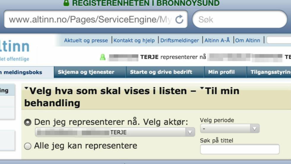 Ny Altinn-tabbe: Eirik fikk opp fremmed navn og personnummer