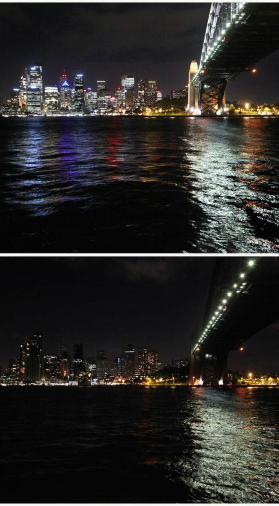 ALLEREDE SKJEDD I SYDNEY:  Bildene viser hvordan australienerne markerte «Earth Hour» deres tid i dag. Foto: David Gray / Reuters / NTB Scanpix
