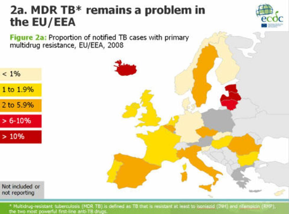MULTIRESISTENT TUBERKULOSE:  Slik så utbredelsen av multiresistent tuberkulose hos tuberkulosepasienter ut i 2008. Kilde: ECDC TB TEAM, European Centre for Disease Prevention and Control