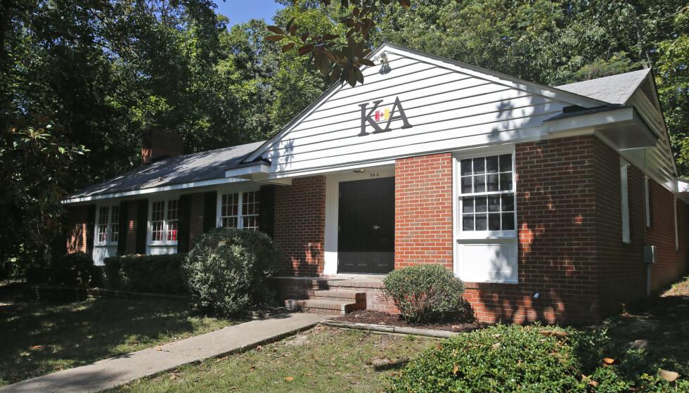 STUDENTBRORSKAP: Aktiviteten ved Kappa Alpha i Richmond i Virginia er midlertidig stanset. Foto: AP/ Steve Helber / NTB scanpix