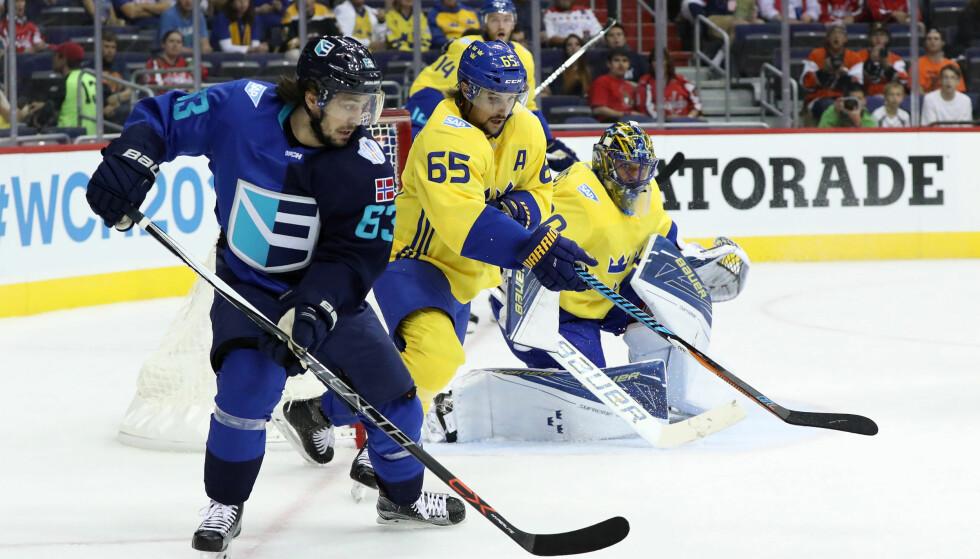 MÅLGIVENDE: Mats Zuccarello og Europa-laget storspilte mot Sverige. Foto: Geoff Burke / USA TODAY Sports / NTB Scanpix