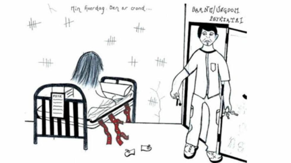 <strong>TEGNET TVANG:</strong> Natalie Eriksens (23) egen tegning av opplevelsen av å være tvangsinnlagt.