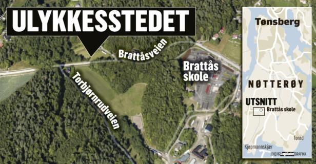 HER SKJEDDE ULYKKEN: Jenta ble påkjørt av en lastebil mens hun syklet på sykkelveien, ikke langt unna Brattås skole, hvor 11-åringen var på vei. Grafikk: Kjell Erik Berg / Dagbladet