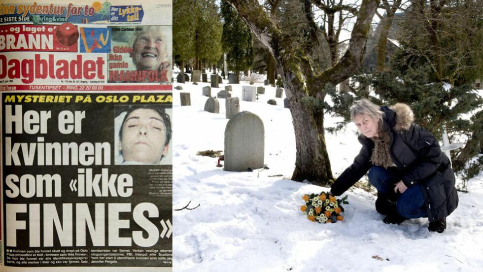 GÅTEN JENIFER:  Brit Gulbjørnsrud i gravferdsetaten i Oslo kommune var på jobb på Vestre gravlund da den mystiske kvinnen ble gravlagt i en umerket grav etter år etter hun ble funnet skutt på et hotellrom. Før påske la hun ned blomster på graven til kvinnen som ingen har meldt savnet. - Jeg har aldri opplevd noe liknende i mine mange år i etaten, sier Gulbjørnrud.  FOTO: ØISTEIN NORUM MONSEN/DAGBLADET.