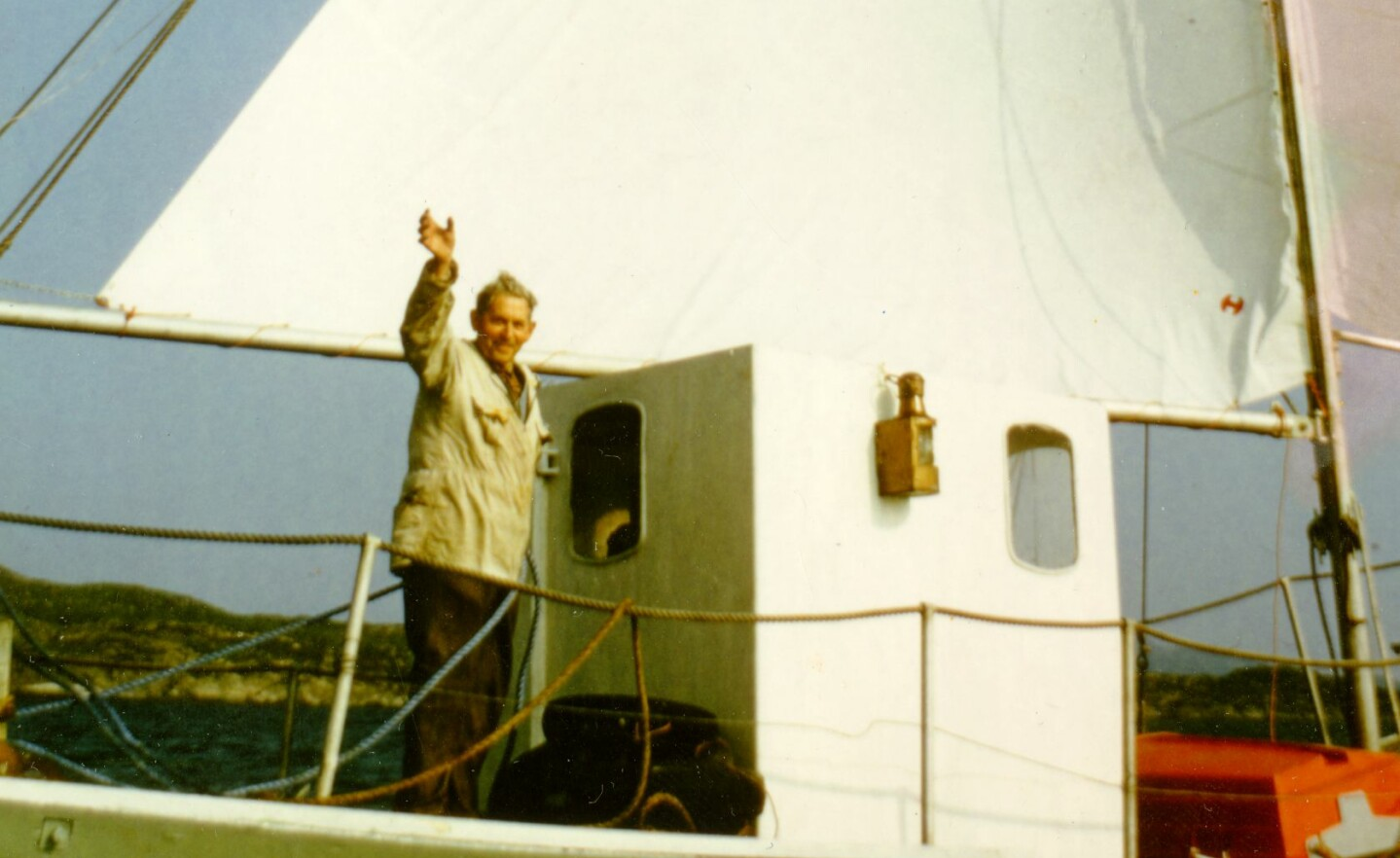 THE GRAND TOUR: Anders J. Smedsvik set out to circumnavigate the globe in the summer of 1972. He was 86 years old at the time. He had built the boat himself and spent almost a decade planning the trip. The boat had no engine. Photo: Private