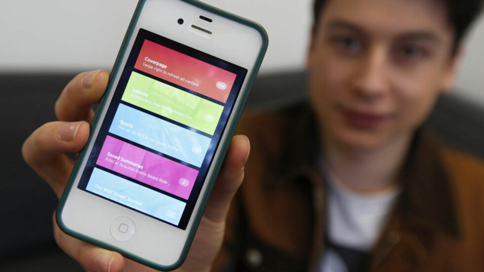 <strong>APP:</strong> Til tross for appen Summlys enkle design, og at bare noen få brukte appen, lyktes 17 år gamle Nick D'Aloisio å selge Summly for 172 millioner kroner til Yahoo. Foto: REUTERS / Suzanne Plunkett