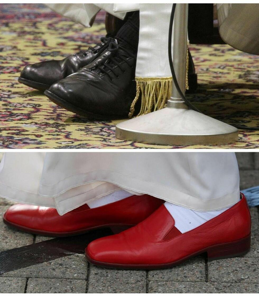 SKODD OVER ULIK LEST: Det ligger mye symbolpolitikk i sko — for eksempel bruker bare djevelen Prada. Her er pave Frans? nøkterne svarte sko og pave Benedikts ekstravagante, røde. Foto: Max Rossi / Reuters / NTB Scanpix