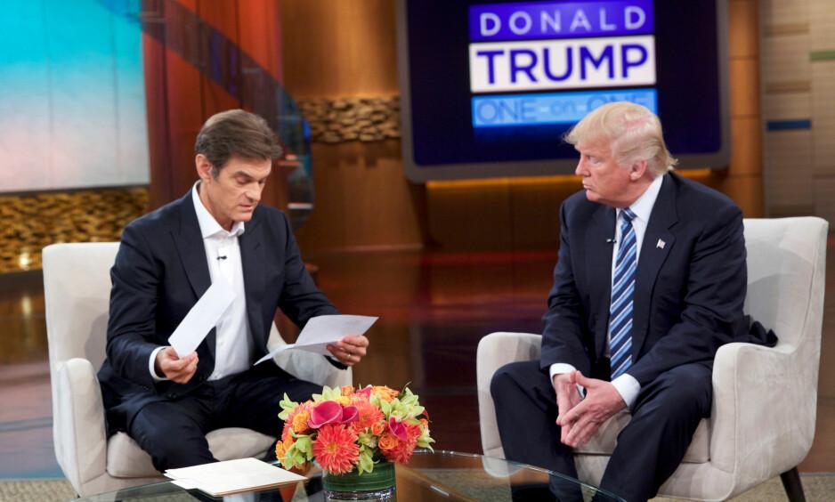 TV-SHOW: Donald Trump sammen med TV-vert Mehmet Oz på «The Dr. Oz Show», som sendes i kveld. Foto: Sony / Reuters / NTB Scanpix