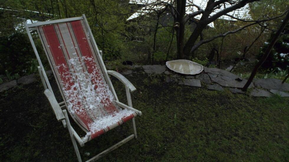 INGEN VÅRSOL Du må vente litt med å legge deg i solstolen, men neste helg er det mulig å børste støv av hagemøblene på Østlandet. Foto: Tomm W. Christiansen