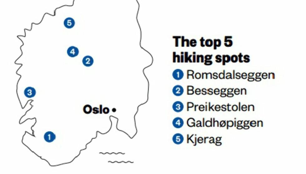 FEIL: I flymagasinet til SAS er det satt opp en liste over de fem beste turpunktene i Norge. Det er godt mulig lista stemmer, men kartet var de ikke like heldige med. Foto: Skjermdump / Scandinavian Traveler