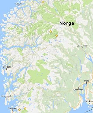 RETT: Slik skulle stedene vært plassert. Romsdalseggen lengst nord, etter følger Galdhøpiggen og Besseggen. Så kommer Kjerag og Preikestolen lenger sør. Foto: Google Maps