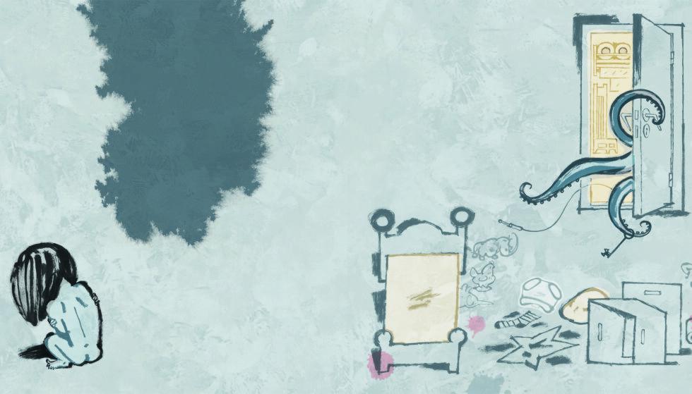 OVERGREP: Lille Gullet i Gro Dahle og Svein Nyhus' nye bildebok blir offer for en blekksprut. Illustrasjon fra boka