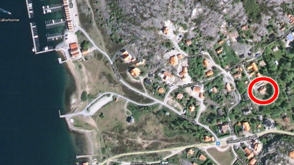 400 METER FRA SJØEN: Her er advokat Geir Lippestads nye hytte, som ligger ved Sveriges vestkyst. Foto: Google Maps