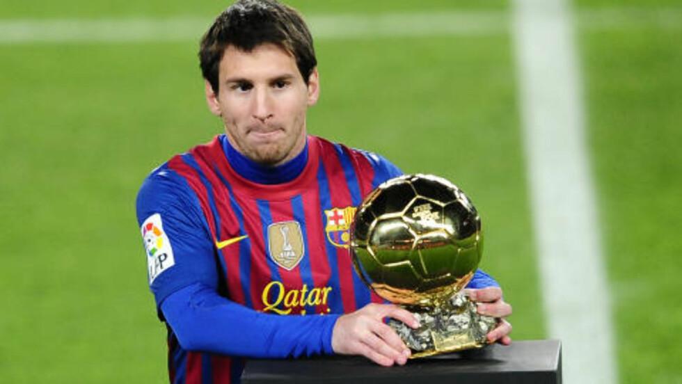 TRE GANGER: Lionel Messi har fått Gullballen tre år på rad. Foto: AP Photo/Manu Fernandez