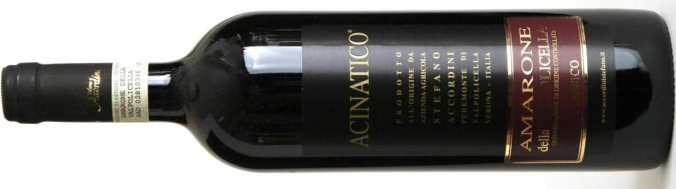 DYR, MEN GOD: Accordini Amarone della Valpolicella Classico Acinatico har høy alkoholprosent, høy pris - og høy kvalitet.