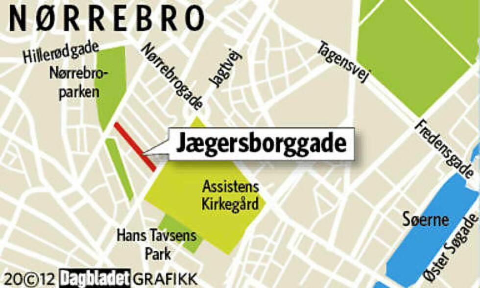 HER ER DET: Jægersborggade i København. Grafikk: KJELL ERIK BERG