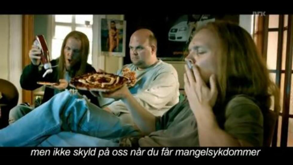- Sunn pizza: - Vi jobber for at Grandiose skal være ernæringsmessig god, sier Stabburet. Foto: Skjermdump / NRK
