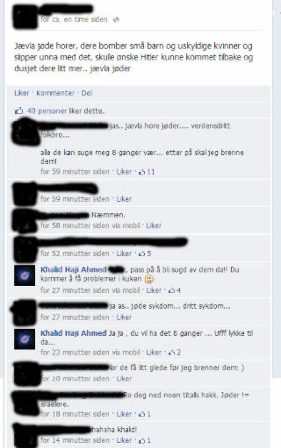 SAMTALEN: Slik utartet samtalen seg på Facebook. Foto: Skjermdump