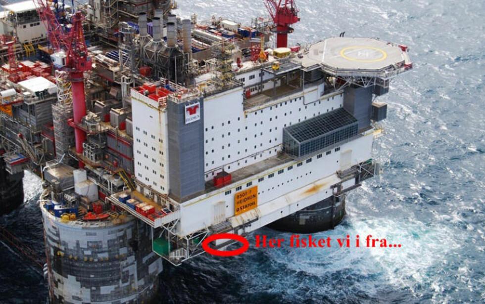 LUFTIG: «Heidrun»-mannskapets fiskeplass ligger 35 meter over havoverflata. Fisken de fanger, blir tatt fra opptil 350 meters dyp. Foto: PRIVAT