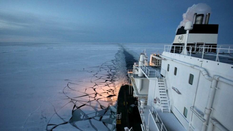 """PÅ VEI GJENNOM NORDØSTPASSASJEN:  Dette bildet fra 14. november viser gasstankeren """"Ob River"""" på veien fra Hammerfest til Japan nord for Russland. Nå er skipet framme i Japan. FOTO:  EPA/DYNAGAS LTD /NTB SCANPIX."""