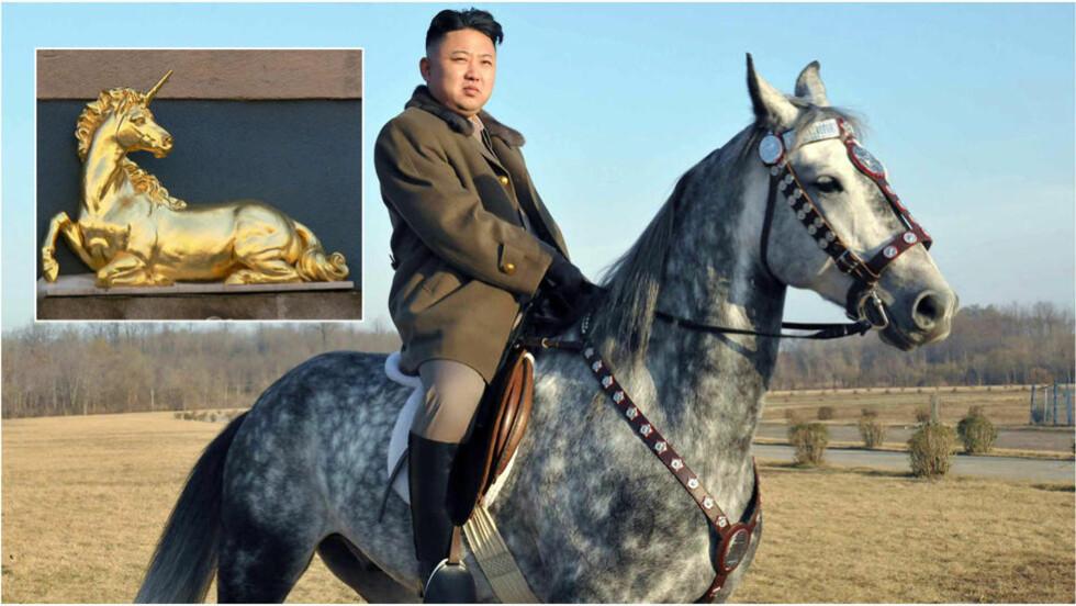 SENSASJON: Kim Jong-un, øverste leder i Nord-Korea, poserer her på en hest. Nå har forskere i landet funnet bevis for at det bodde enhjørninger i landet i tidligere tider, noe som øker statusen til både Nord-Korea og dets leder. Foto: KCNA