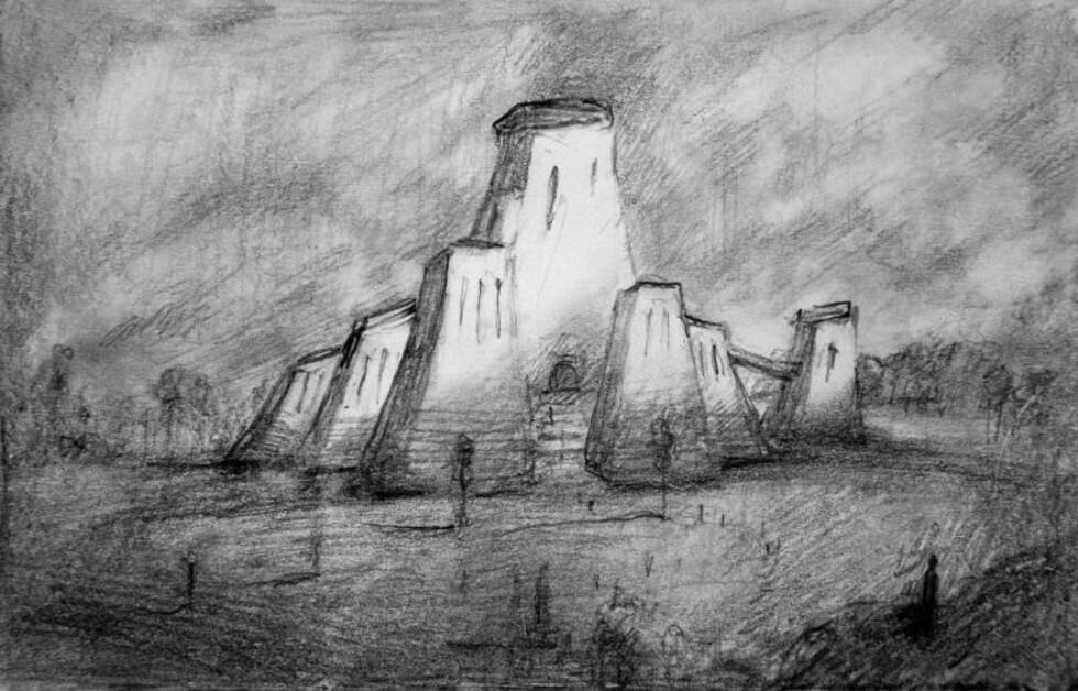 FORSIDE: Slik har Odd Nerdrum sett for seg at forsiden av det nye Munch-museet skal se ut, sett fra Halvdan Svartes gate. Illustrasjon: Odd Nerdrum