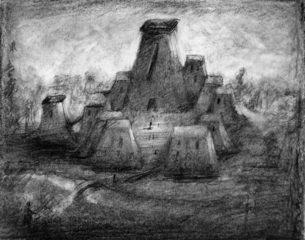 BAKSIDE: Slik har Odd Nerdrum sett for seg at baksiden av det nye Munch-museet skal se ut, sett fra elven mellom Frognerparken og Skøyen. Illustrasjon: Odd Nerdrum