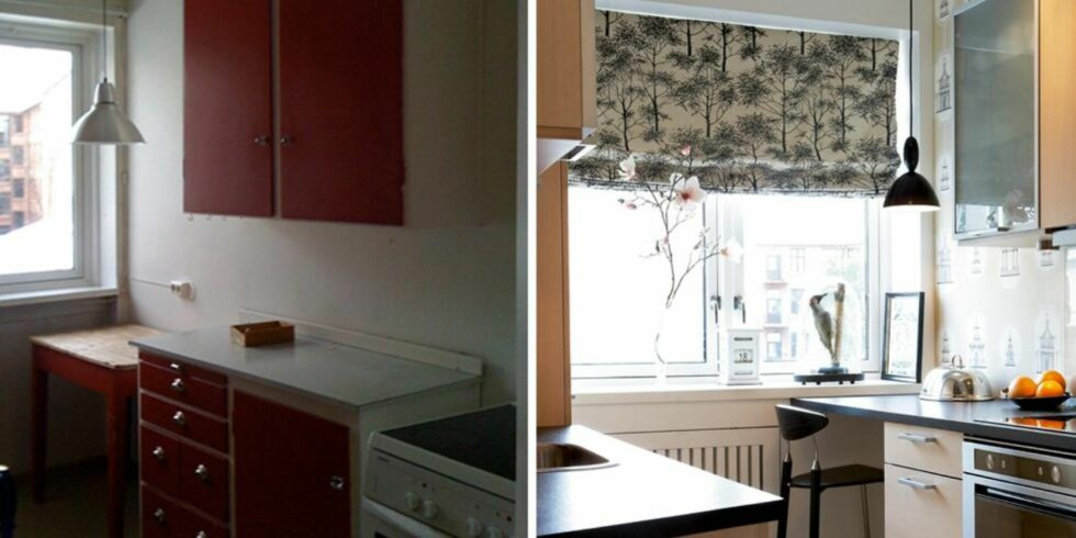 OPPGRADERT: Det lille kjøkkenet på åtte kvadratmeter hadde ulike benkehøyder og upraktisk skapplass. Det fikk moderne linjer og bedre plass uten å endre planløsningen. FOTO: Margaret M. De Lange