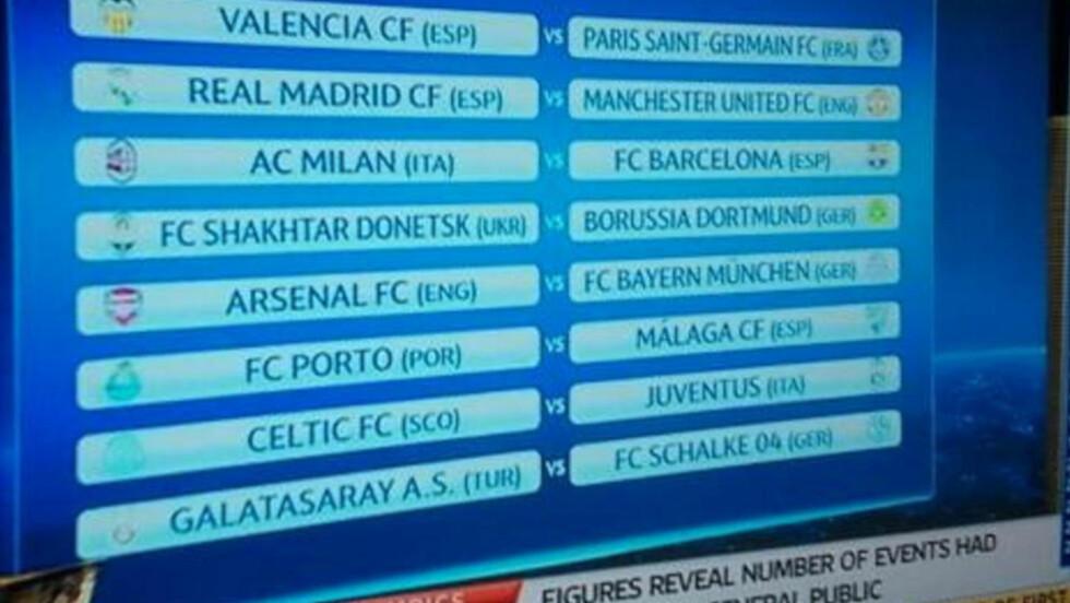 """IDENTISK: Dette bildet er hentet fra UEFAs """"generalprøve"""" i går. Spesielt nok var den identisk med virkelige trekningen i dag."""
