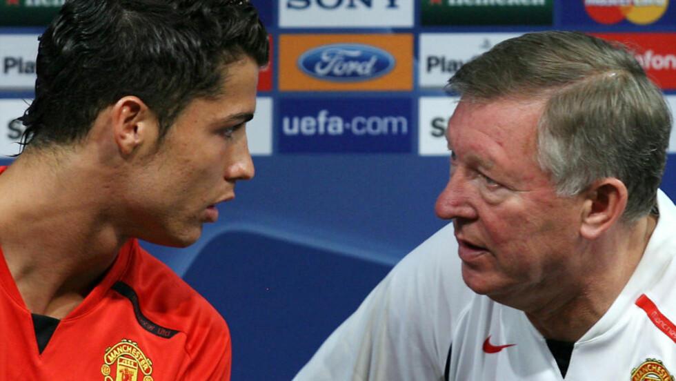 BLIR DE GJENFORENT? Cristiano Ronaldo og Alex Ferguson har snakket varmt om hverandre siden de skilte lag i 2009. Foto: STEVEN GOVERNO, AP / NTB SCANPIX