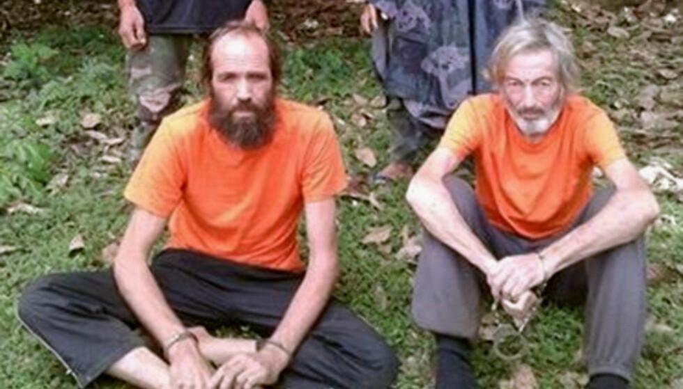 LØSLATELSE: Nordmannen Kjartan Sekkingstad (t.v), som ble kidnappet av islamistgruppa Abu Sayyaf på Filippinene i september i fjor, er nå være løslatt, ifølge filippinske myndigheter. Foto: Reuters / NTB Scanpix