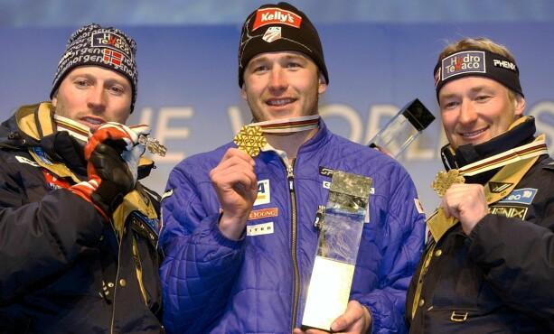 SLO AAMODT OG KJUS: I VM i St. Moritz tok Bode Miller gull foran Lasse Kjus og Kjetil Andre Aamodt . 14 år senere vil han kopiere bragden i samme VM-løype. Foto: EPA PHOTO  KEYSTONE / KARL MATHIS