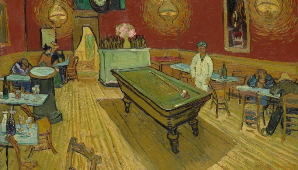BERØMTHET: Vincent van Goghs maleri «Nattkafeen» fra 1888 ble kjøpt av Stephen Clark i 1933, og senere gitt til kunstmuseet ved Yale-universitetet, der han selv hadde fått sin advokatutdanning. Det regnes som et av van Goghs viktigste malerier, og et av de mest kjente europeiske malerier i USA. FOTO: WIKIMEDIA COMMONS / YALE UNIVERSITY ART GALLERY