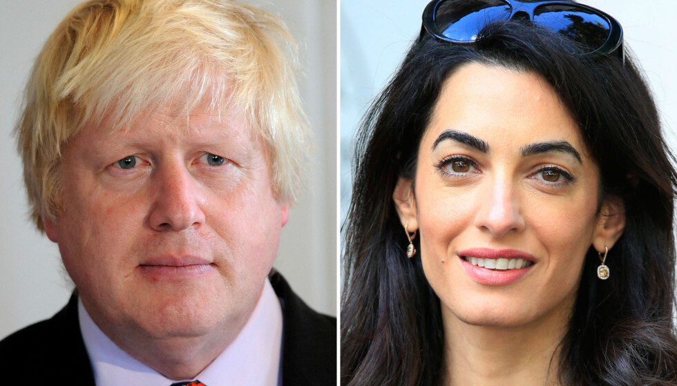 RADARPAR: Storbritannias utenriksminister, Boris Johnson, og menneskerettighetsadvokat Amal Clooney spiller på lag i kampen for å få stilt IS-medlemmer for retten. Foto: NTB Scanpix
