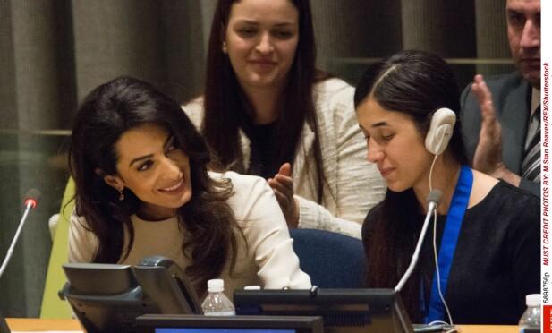 I FN: Amal Clooney i FN sammen med organisasjonens nye goodwill-ambassadør for trafficking-ofre, Nadia Murad Basee Taha, som kommer fra det forfulgte yazidiske folket i Syria og Irak. Foto: M.Stan Reaves/REX/Shutterstock