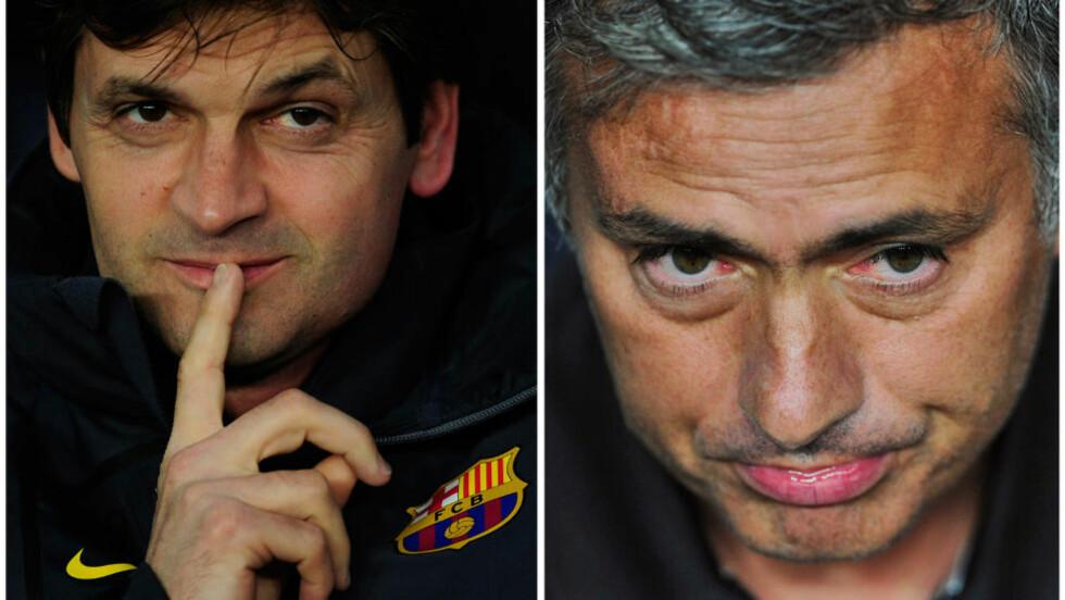 KJØLIG? Eksperter på spansk fotball tror forholdet mellom Barcelona-trener Tito Vilanova og Real Madrid-trener Jose Mourinho vil være kjølig i årets sesong. Foto: AP Photo / Manu Fernandez / NTB Scanpix