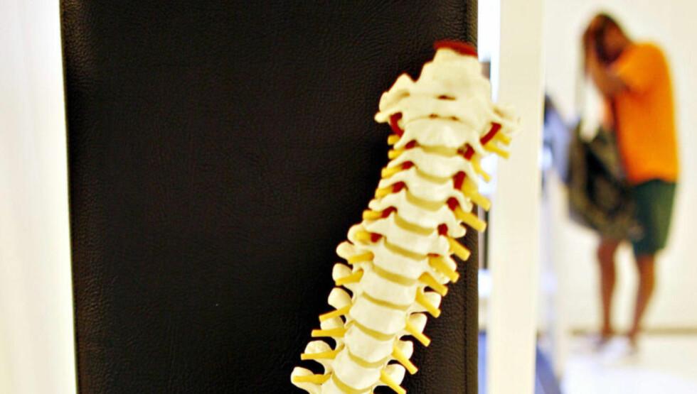 PASSER IKKE INN: «Tapere i dette systemet er pasienter med smerteproblematikker som ikke lett lar seg avgrense,» skriver artikkelforfatteren. Modell av ryggsøyle. Foto: Ole C. H. Thomassen