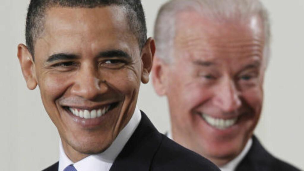 UTFORDRES:  President Barack Obama med visepresident Biden i bakgrunnen. Foto: AP / NTB Scanpix
