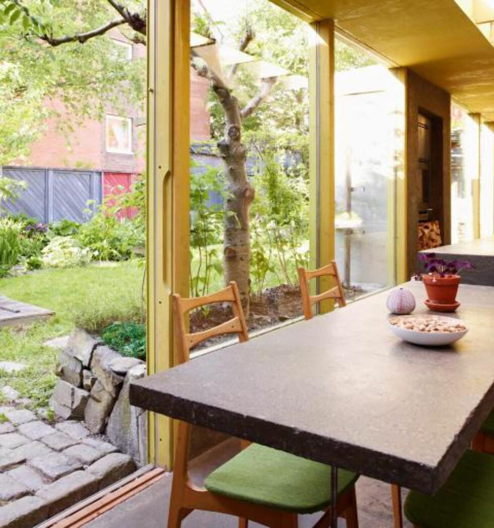 UTSYN MOT HAGEN: Tidligere var hagen et sted som lå utenfor huset. Tilbyggets store glassflater bidrar til at hagen integreres i boligen, som et ekstra rom. Nærkontakten med hagen gjør at det aldri føles trangt på kjøkkenet.  Foto: Ragnar Hartvig