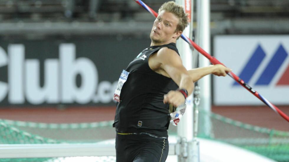 GIR SEG FOR SESONGEN: Andreas Thorkildsen gir seg for sesongen, og tar en tidlig ferie isteden etter at han havnet på sisteplass i Diamond League-stevnet i Stockholm i kveld. Foto: FREDRIK SANDBERG / NTB scanpix