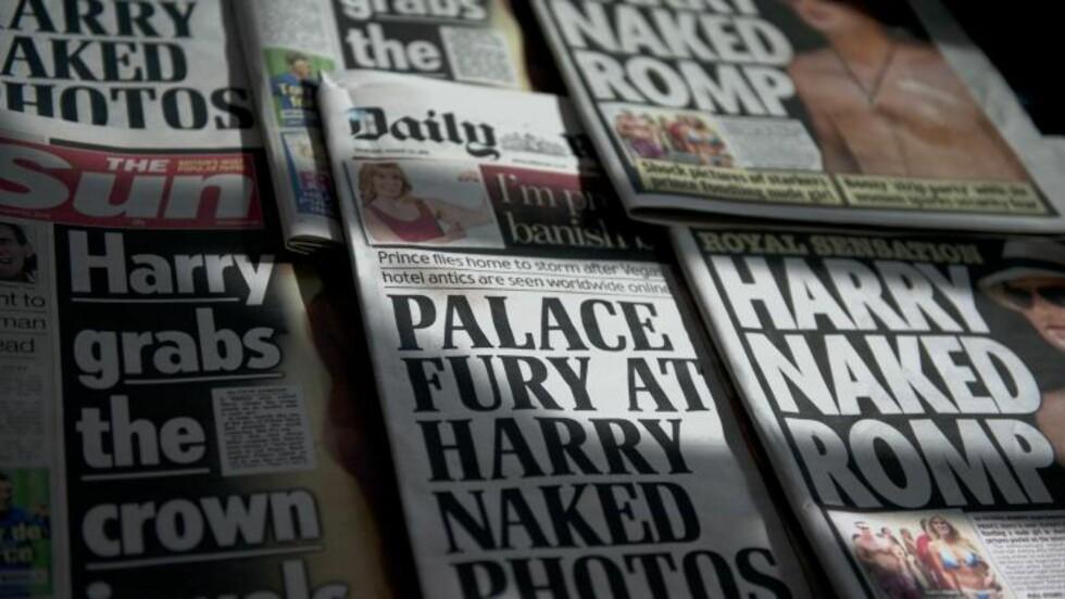 SKAPT FURORE: Da nakenbildene av prinsen ble trykket i britiske medier, ble både prinsens og den mystiske kjendiskontoen på Facebook slettet. Foto: AFP / DANIEL SORABJI / NTB scanpix