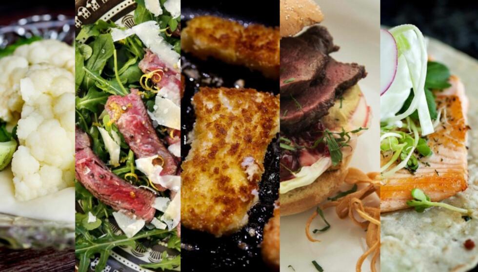 FEM RASKE: Gode, sunne og ikke minst raske middager du lager på tjue minutter. Foto: Mette Møller / Mette Randem / Jon Marius Nilsson