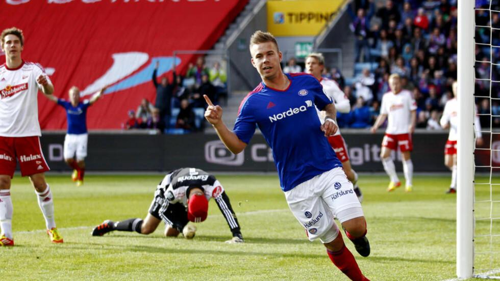 FORRIGE UTLÅN: Marcus Pedersen scoret åtte mål da VIF lånte han fra Vitesse. Nå reiser 22-åringen videre til Danmark. Foto: Erlend Aas / NTB scanpix