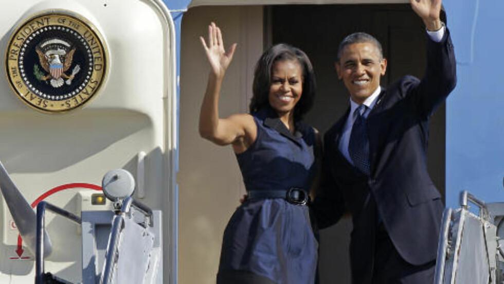 STØTTER: - Jeg liker å lese gjennom talene hans uarbeidet, forteller førstedamen Michelle Obama i et ferskt intervju med ABC News. Foto: Scanpix