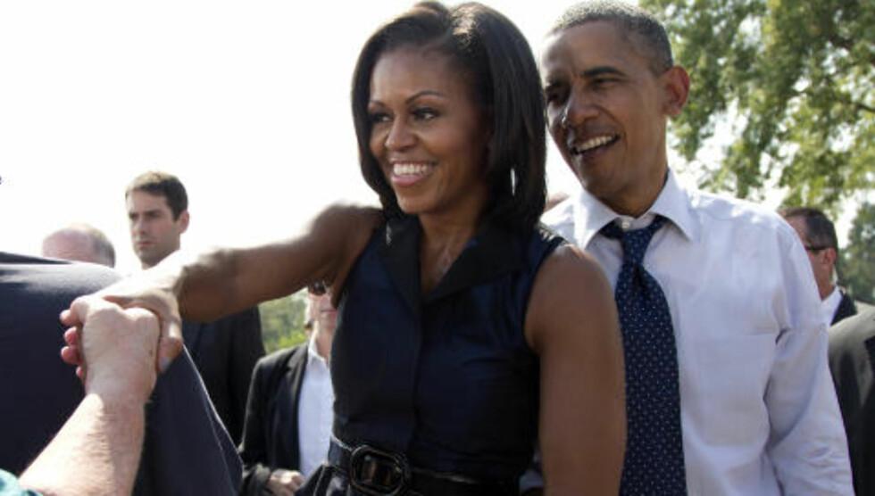 MED PÅ VALGKAMPANJEN: Michelle Obama kan kanskje sies å være «like» involvert i den amerikanske valgkampanjen som sin ektemann Barack Obama. Foto: Scanpix
