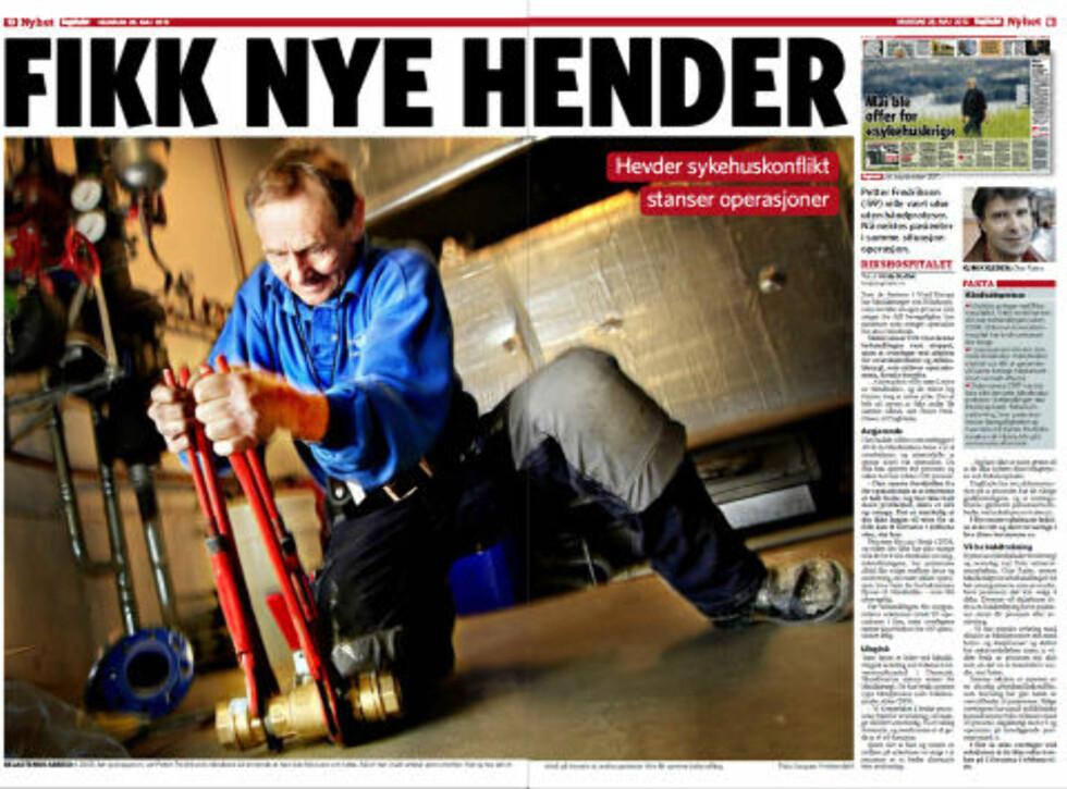 FORSTÅR IKKE OUS:  Tune Ipsen, leder ved håndkirurgisk avdeling ved Odense Universitetshospital i Danmark bruker de samme håndprotesene, som ikke blir brukt ved Rikshospitalet lenger. Han forstår ikke hvorfor protesebehandlingen er stoppet i Norge, siden han mener dette er et bedre alternativ til avstivning av hånda.  Petter Fredriksen (59) ville vært ufør dersom han ikke fikk operert inn håndprotesene sine, og i dag jobber han som rørlegger - med dem. Artikkelen ble trykket 28. mai i år. Faksimile: Dagbladet